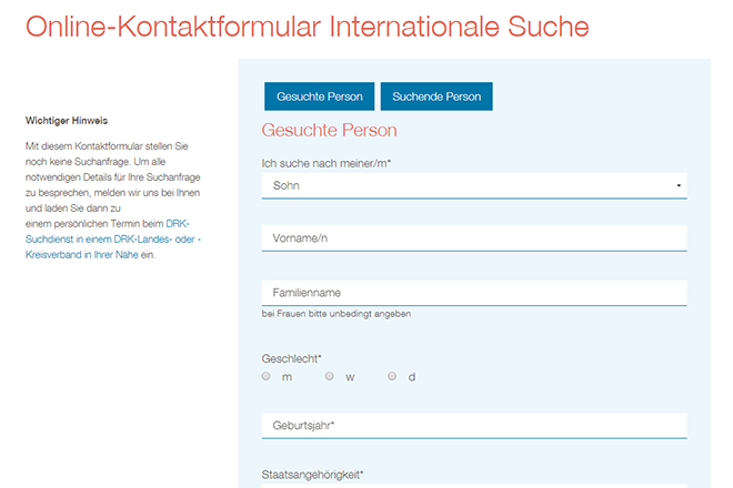Online contact form for an international search
