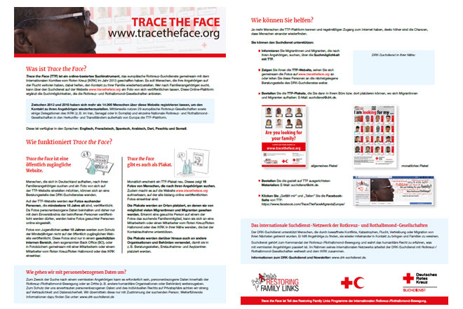 Trace the Face information sheet