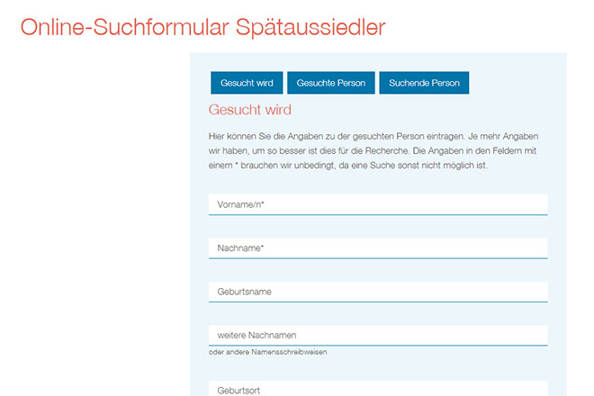 Picture - Online tracing request form for ethnic German repatriates