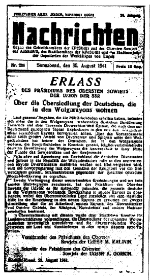 Decree on the relocation of the Volga Germans